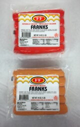 Red or Natural Franks 1lb Package 10 pcs per package
